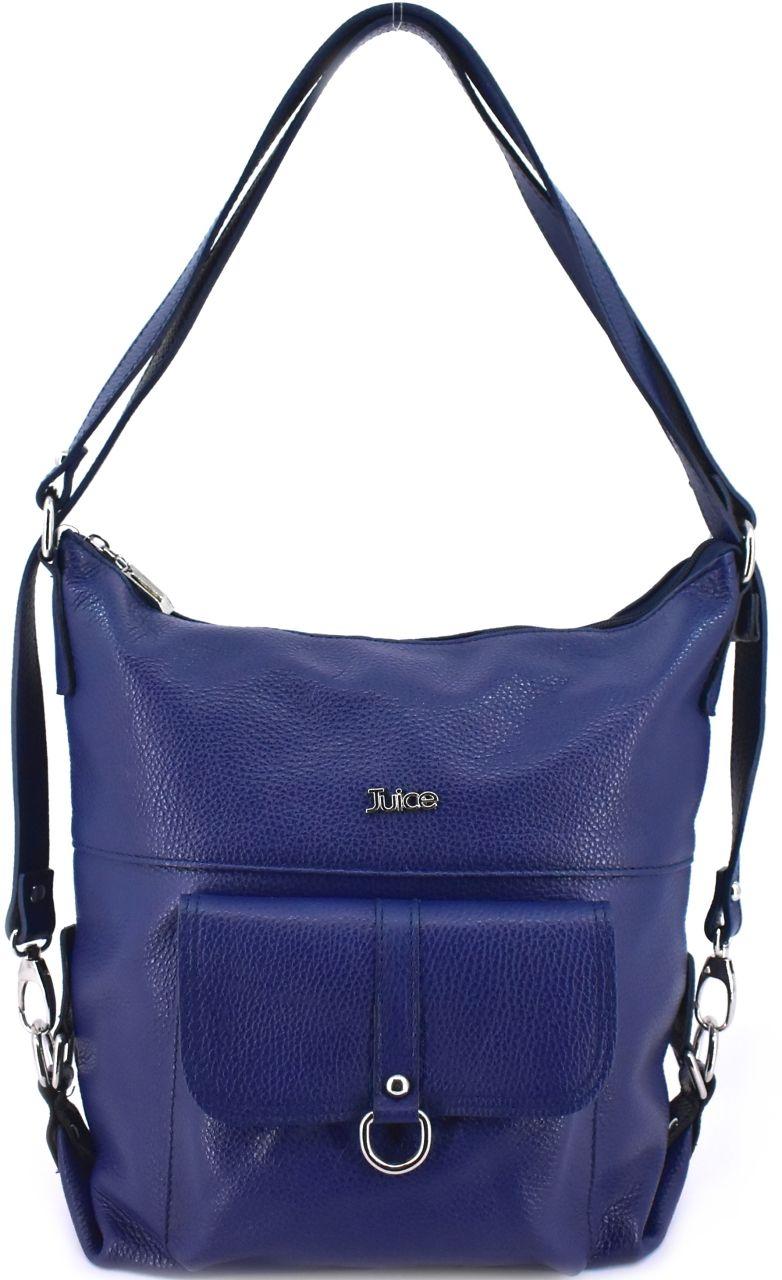 Dámská kožená kabelka a batoh v jednom Juice - tmavě modrá 36980