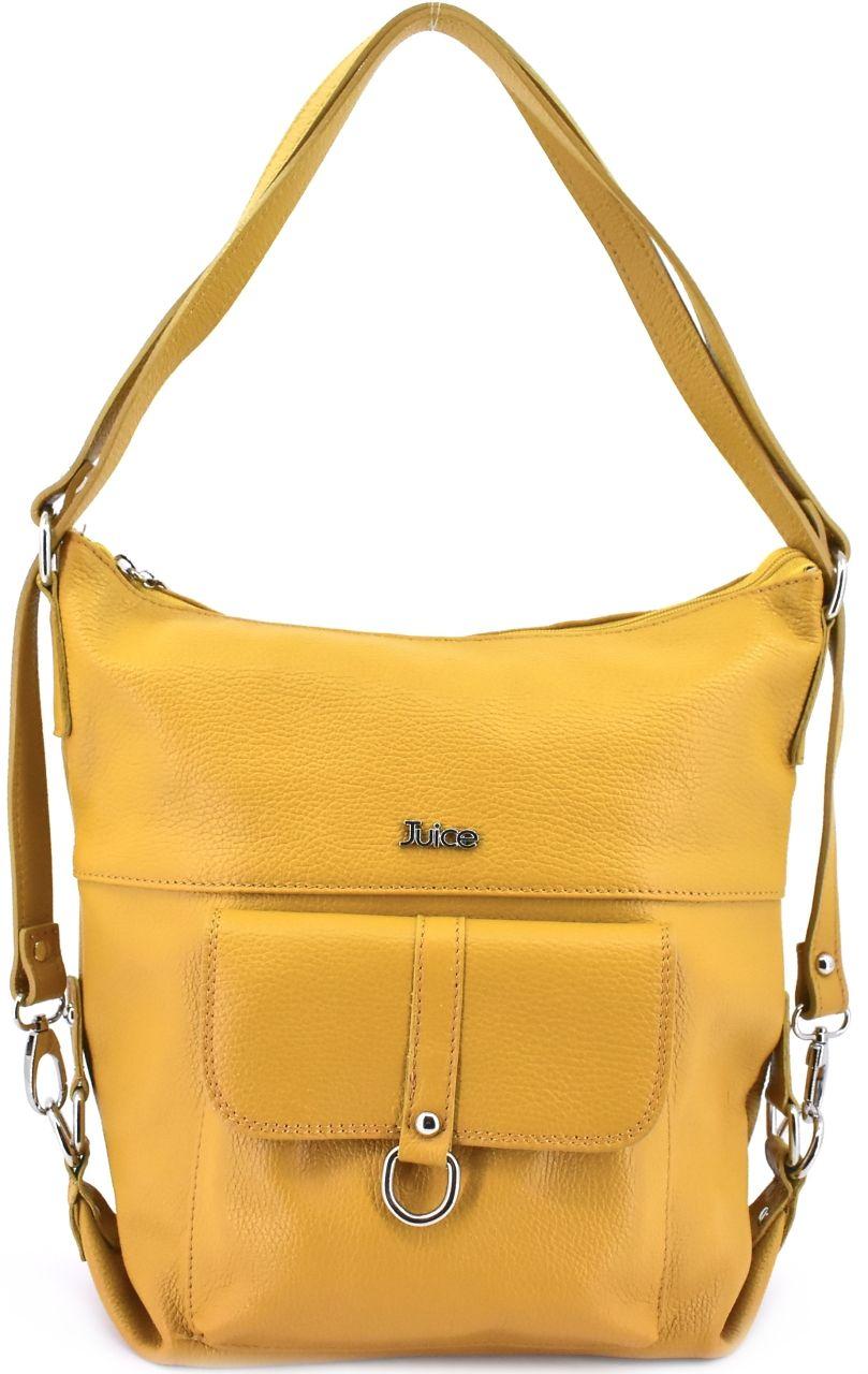 Dámská kožená kabelka a batoh v jednom Juice - hořčícová 36980