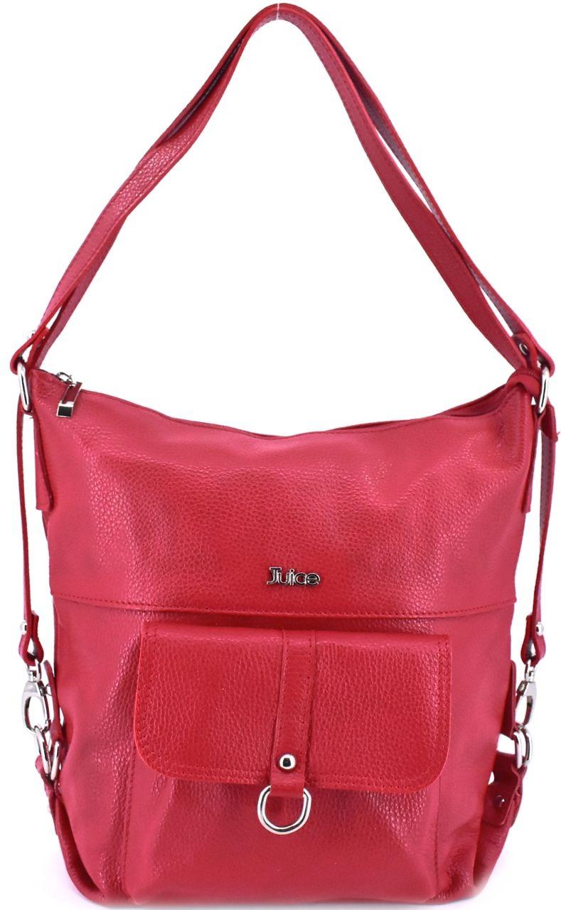 Dámská kožená kabelka a batoh v jednom Juice - červená 36980
