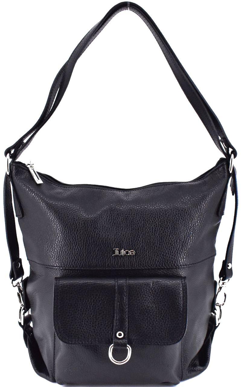Dámská kožená kabelka a batoh v jednom Juice - černá 36980