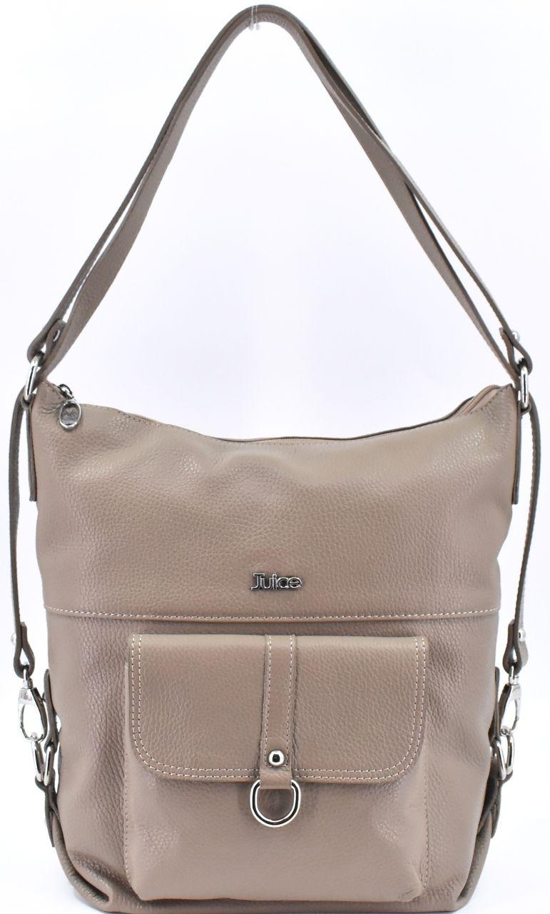 Dámská kožená kabelka a batoh v jednom Juice - taupe 36980