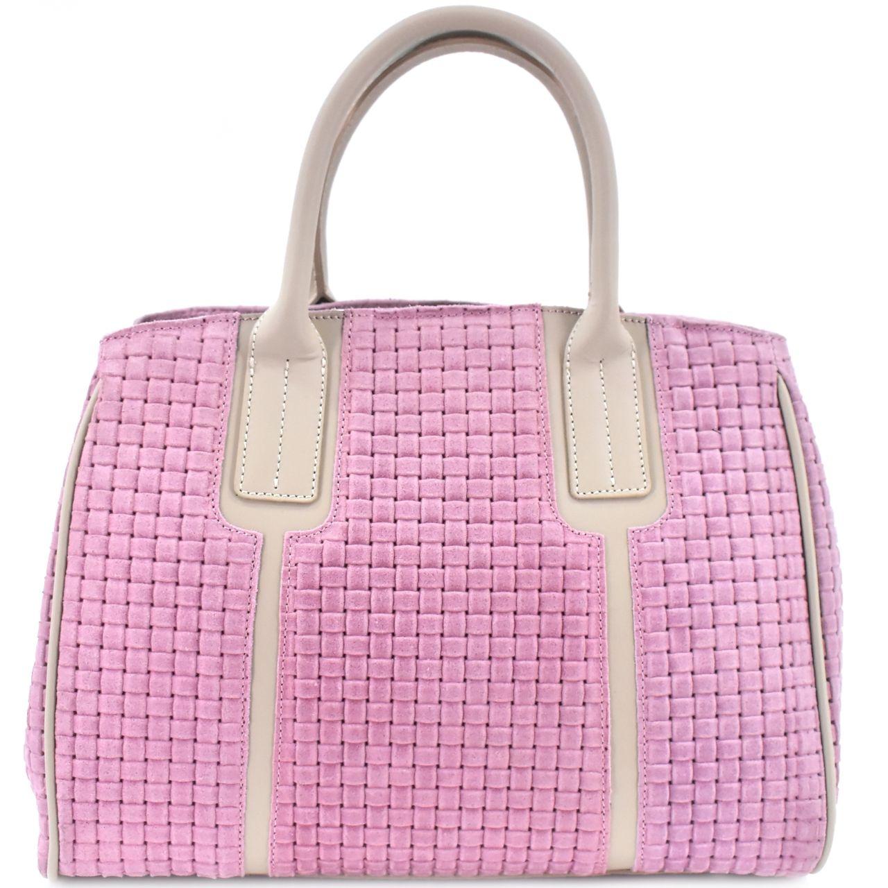 Dámská kožená kabelka shopper Arteddy - růžová 29544