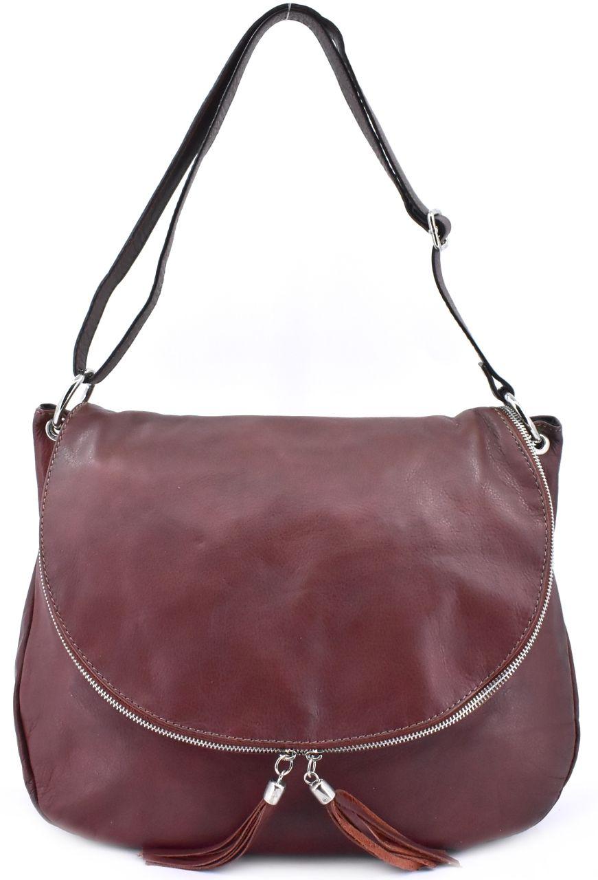 Dámská kožená kabelka crossbody s klopnou Arteddy - tmavě hnědá 28854