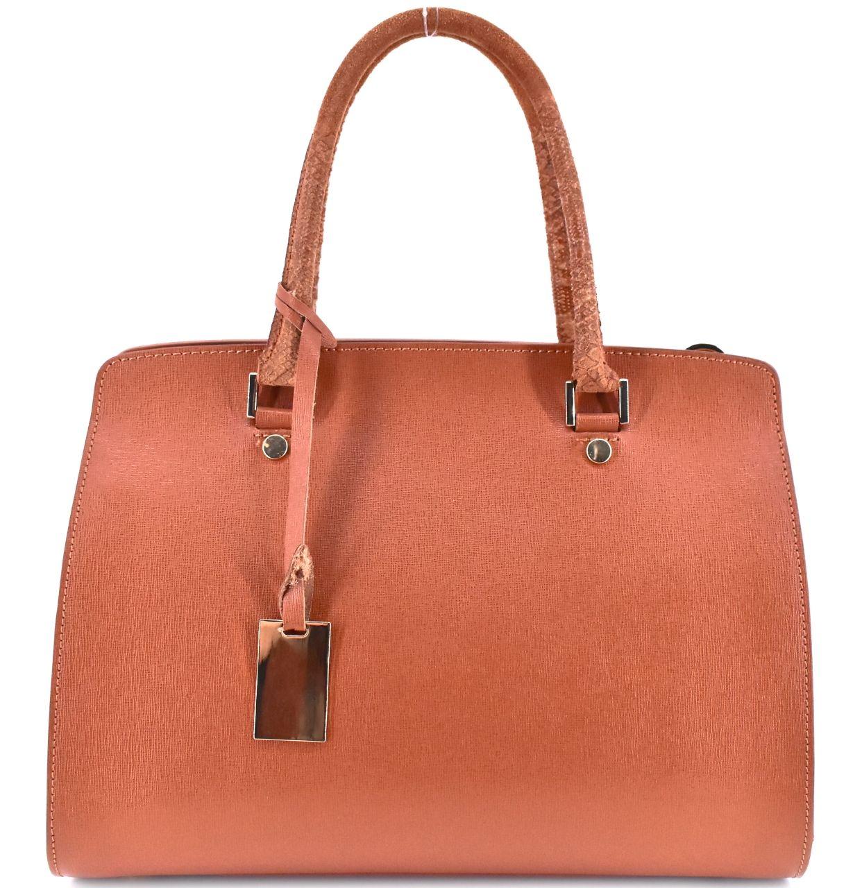 Luxusní dámská kožená kabelka Shopper - hnědá 31015