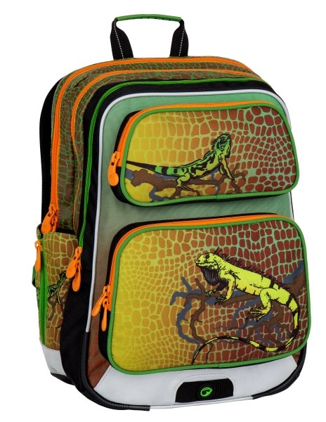 Bagmaster Školní batoh pro prvňáčky s leguánem Bagmaster GALAXY 7 E GREEN/ORANGE