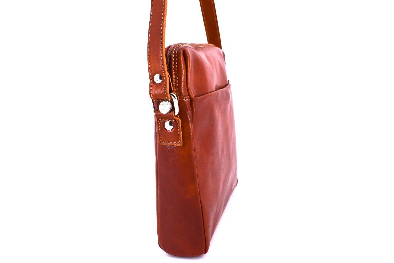 Kožená taška přes rameno crossbody - koňak 31063