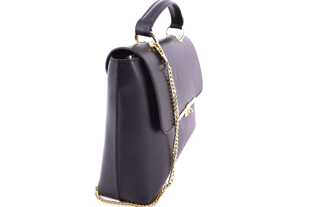 Dámská kožená kabelka s klopnou Arteddy - černá 32473