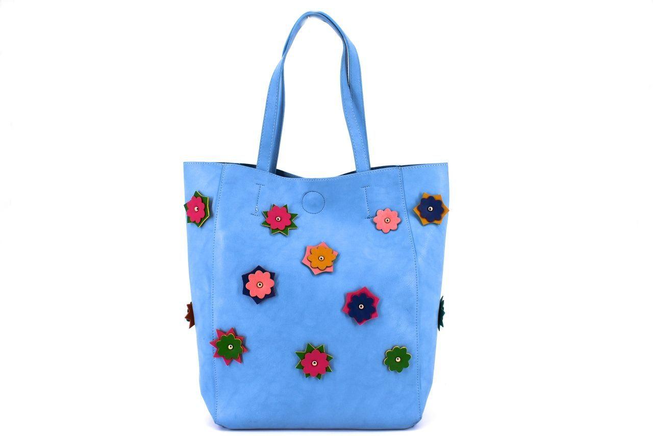 Dámská kabelka květovaná - modrá 27248