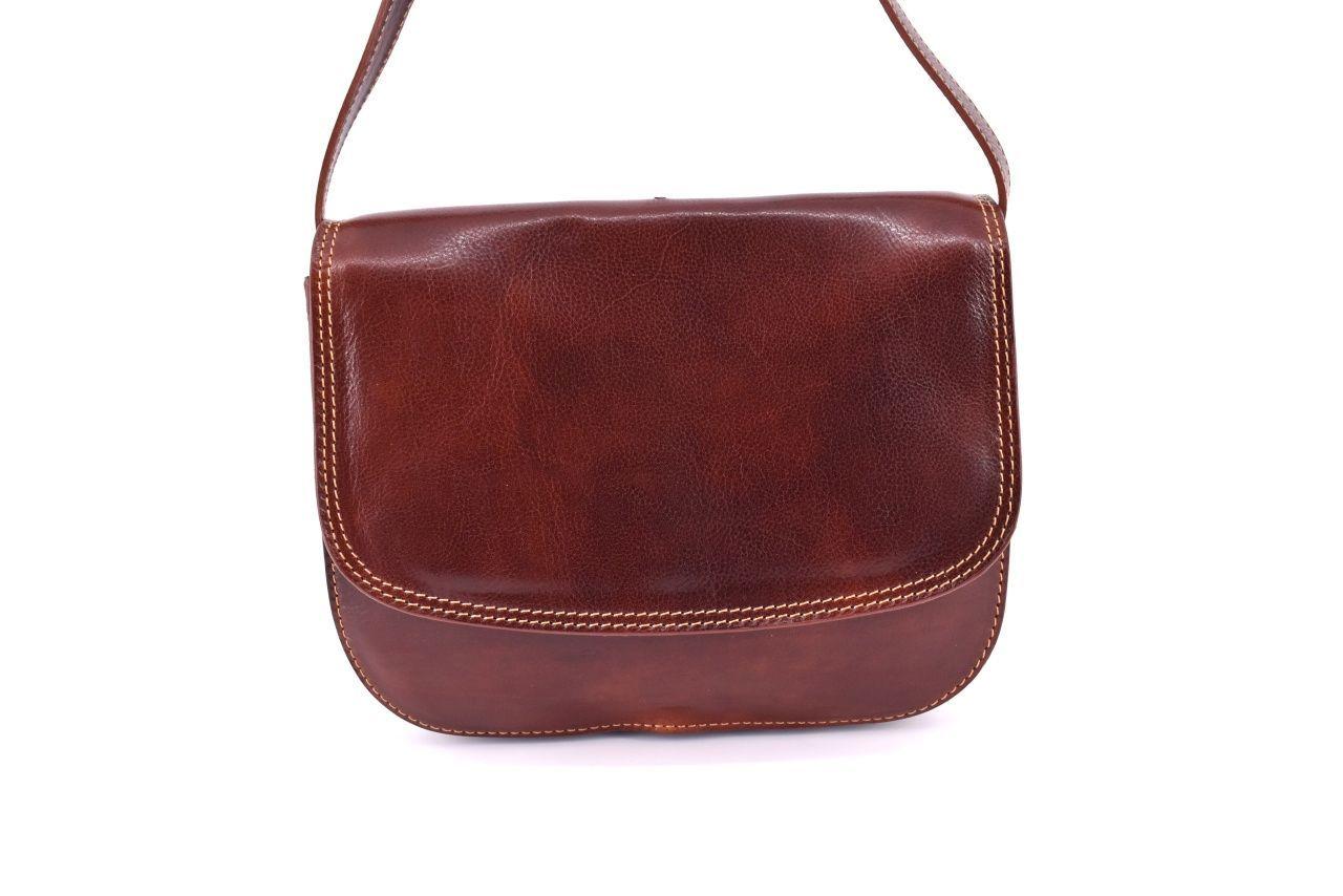 Dámská velká kožená kabelka lovecká Arteddy - hnědá 29638