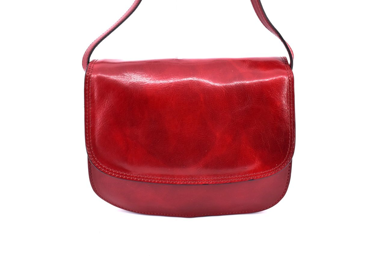 Dámská velká kožená kabelka lovecká Arteddy - tmavě červená 29638