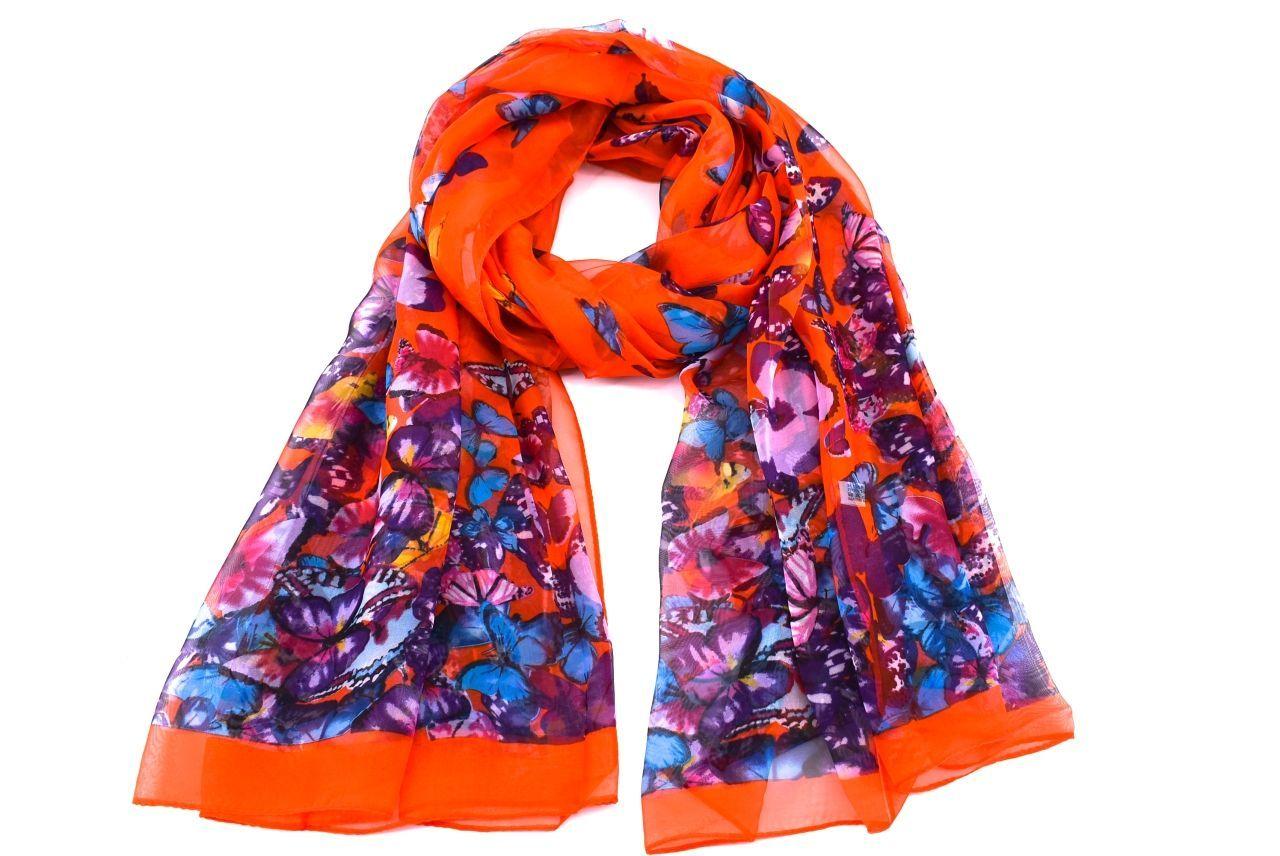 Dámský šátek se vzorem motýli Arteddy - oranžová