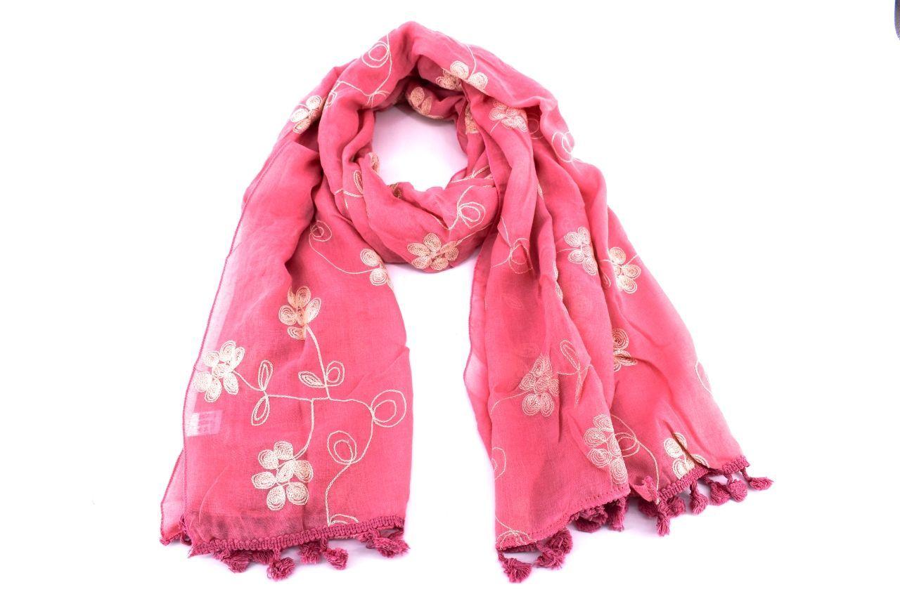 Dámský šátek s kytičkama Arteddy - béžová