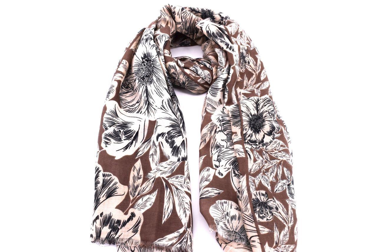 Dámský květovaný šátek Arteddy - béžová