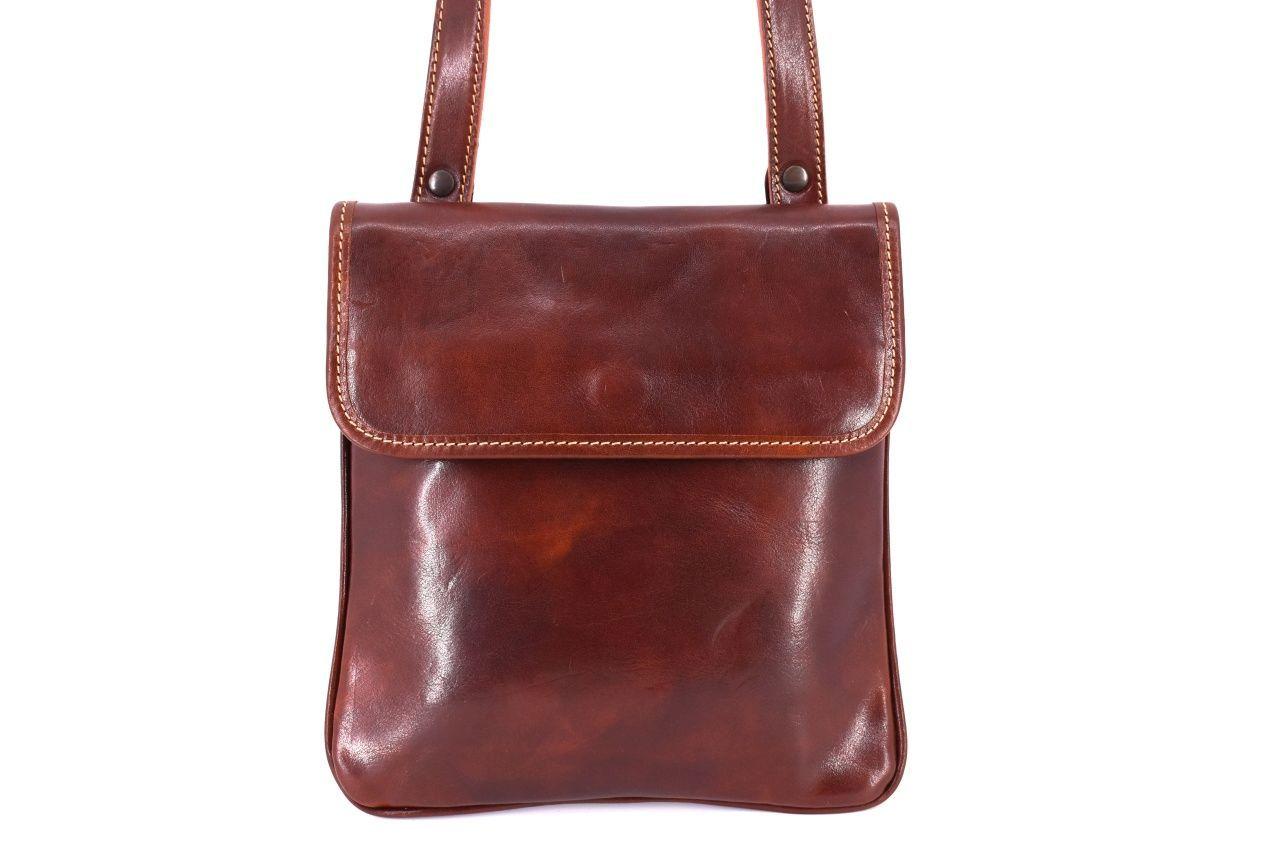 Kožená taška přes rameno crossbody - hnědá