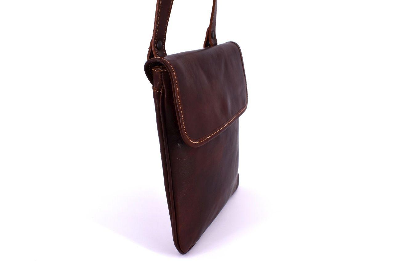 Kožená taška přes rameno crossbody - červená