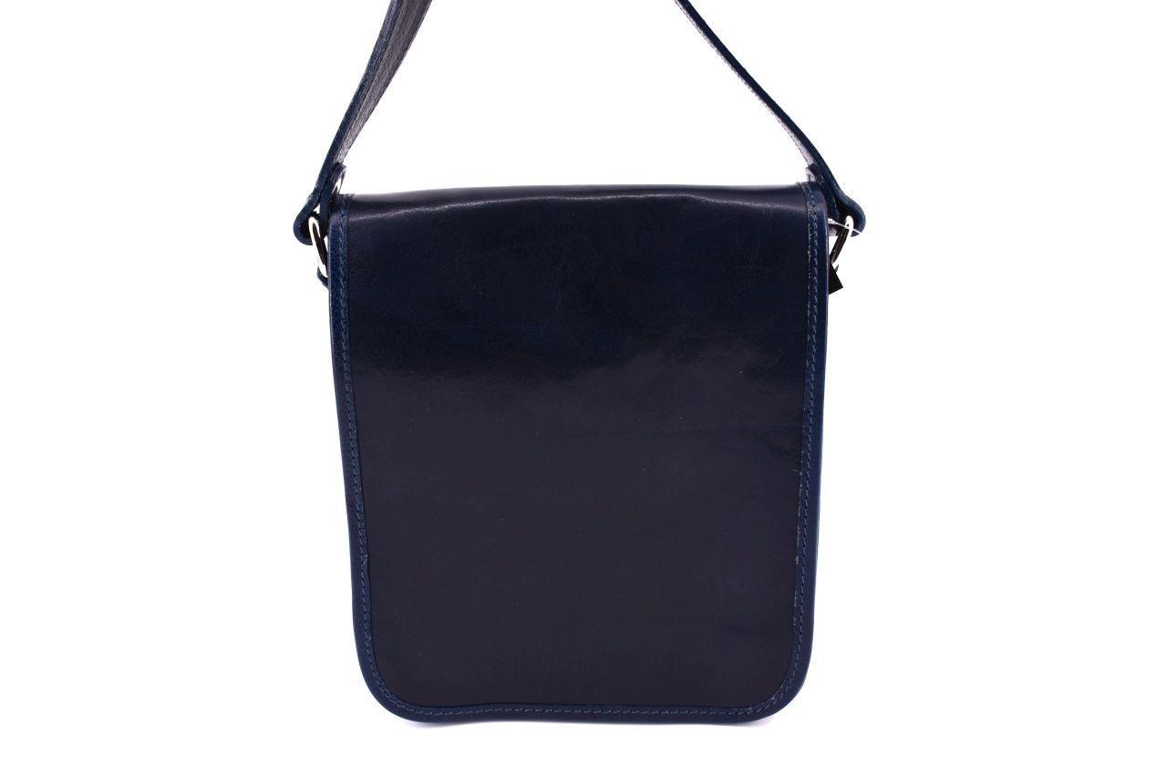 Kožená taška přes rameno crossbody s klopnou - černá 29622