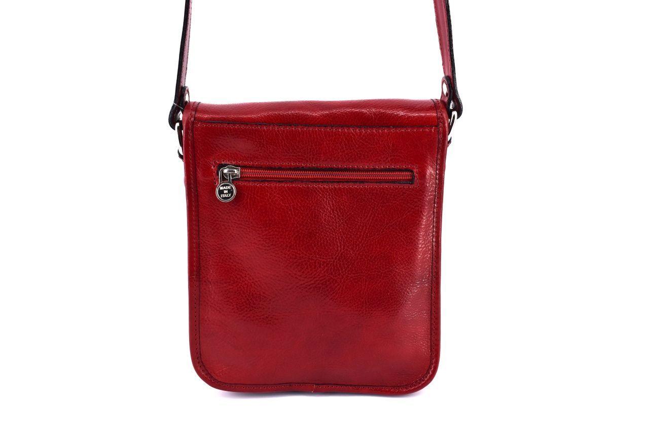 Kožená taška přes rameno crossbody s klopnou    - červená