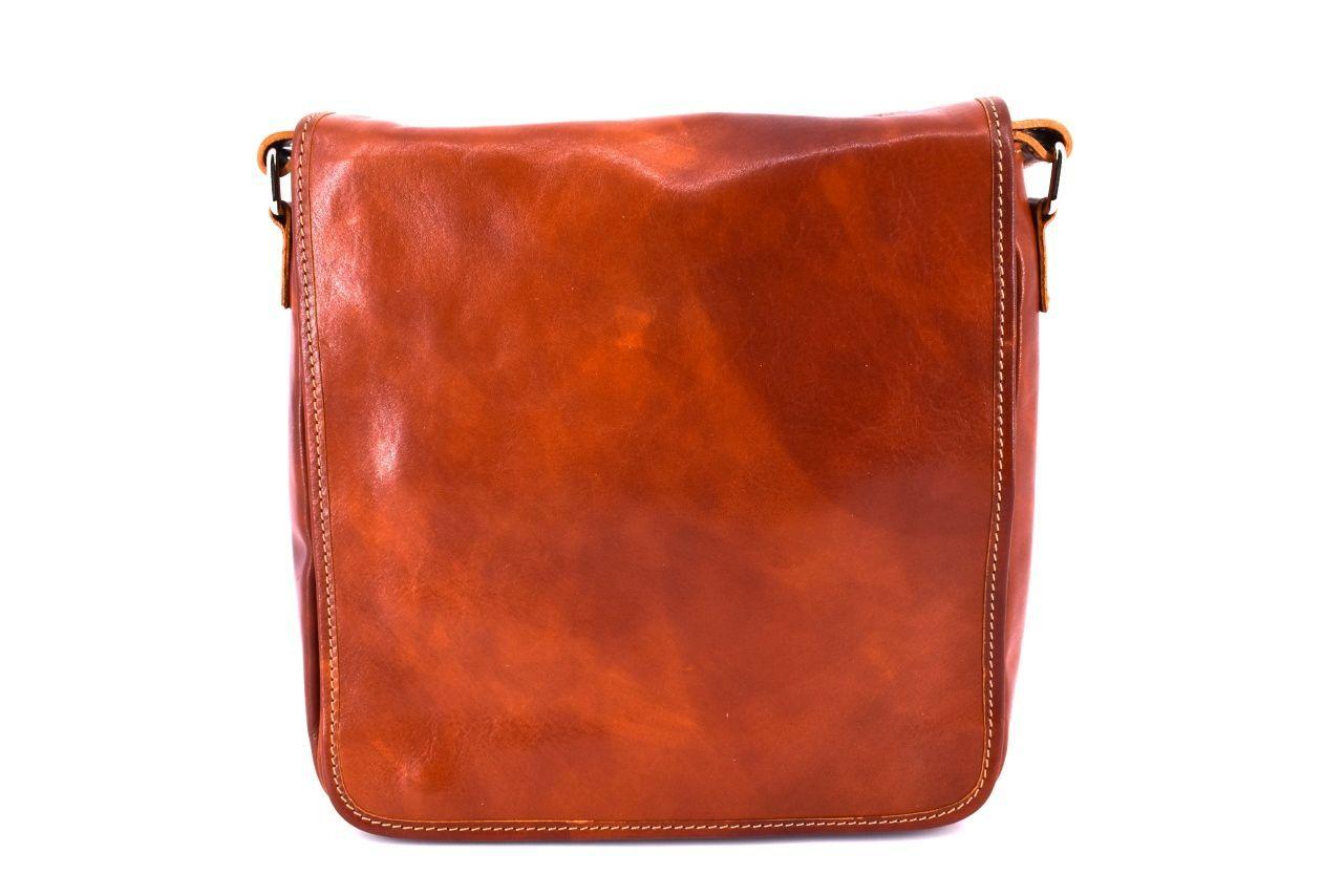Kožená taška přes rameno crossbody - koňak 29620