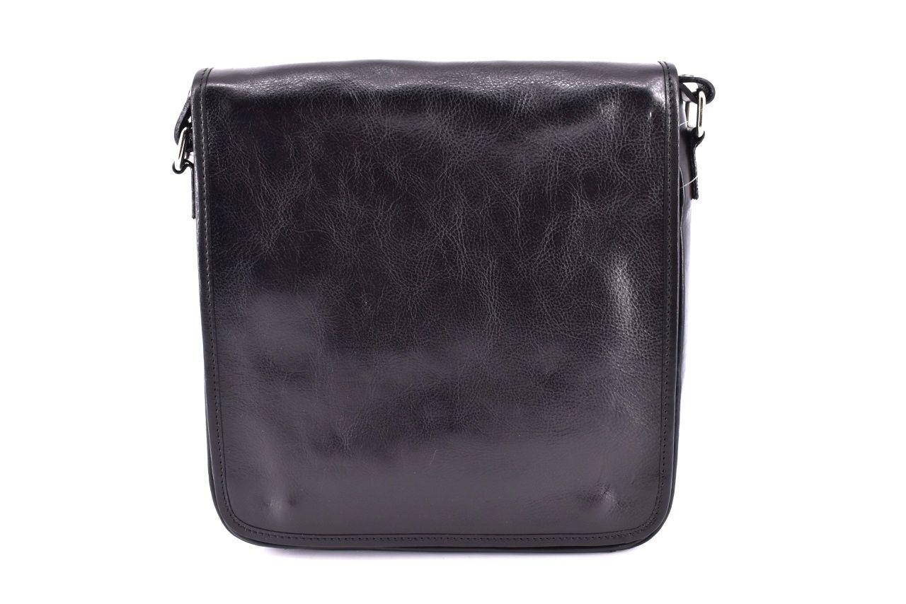Kožená taška přes rameno crossbody - černá 29620