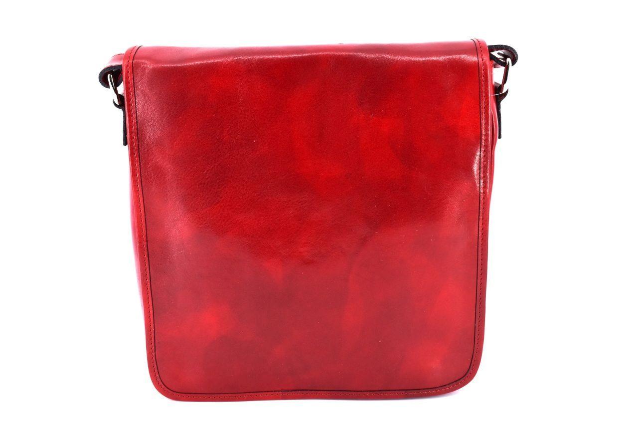 Kožená taška přes rameno crossbody - červená 29620