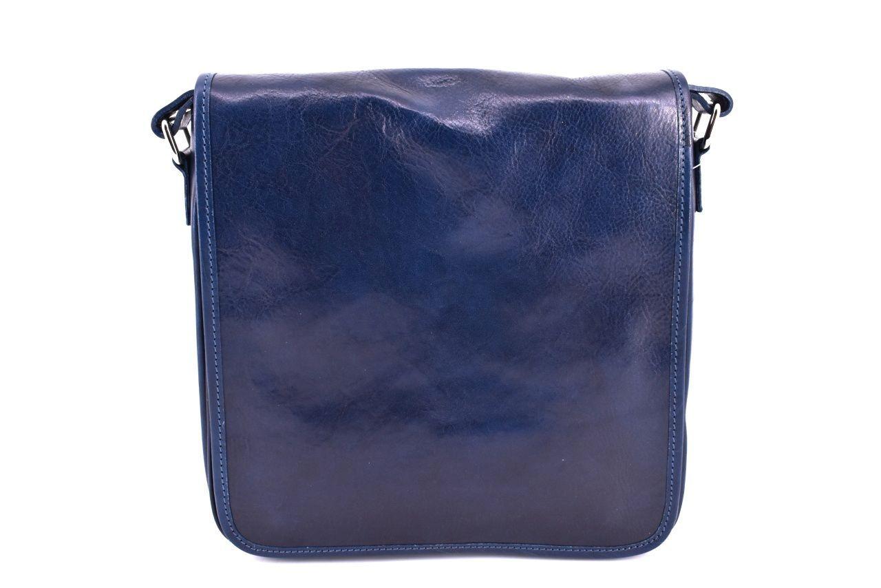 Kožená taška přes rameno crossbody - modrá 29620