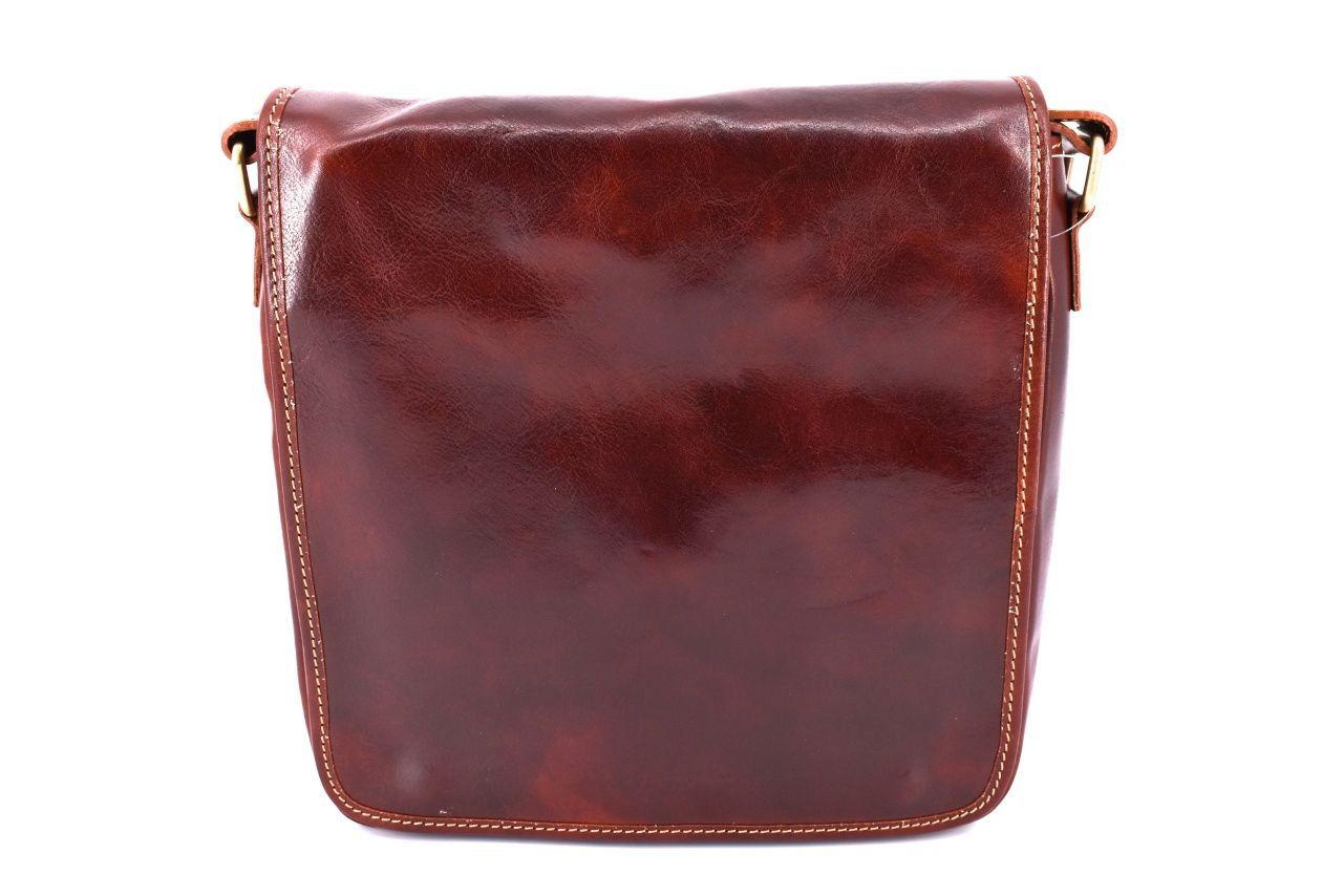 Kožená taška přes rameno crossbody - hnědá 29620