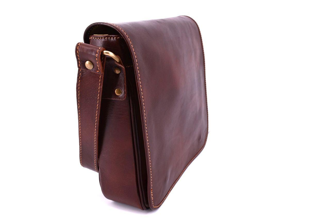 Kožená taška přes rameno crossbody s klopnou - zelená 29700
