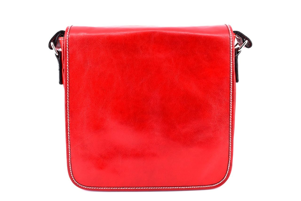 Kožená taška přes rameno crossbody s klopnou - červená 29700