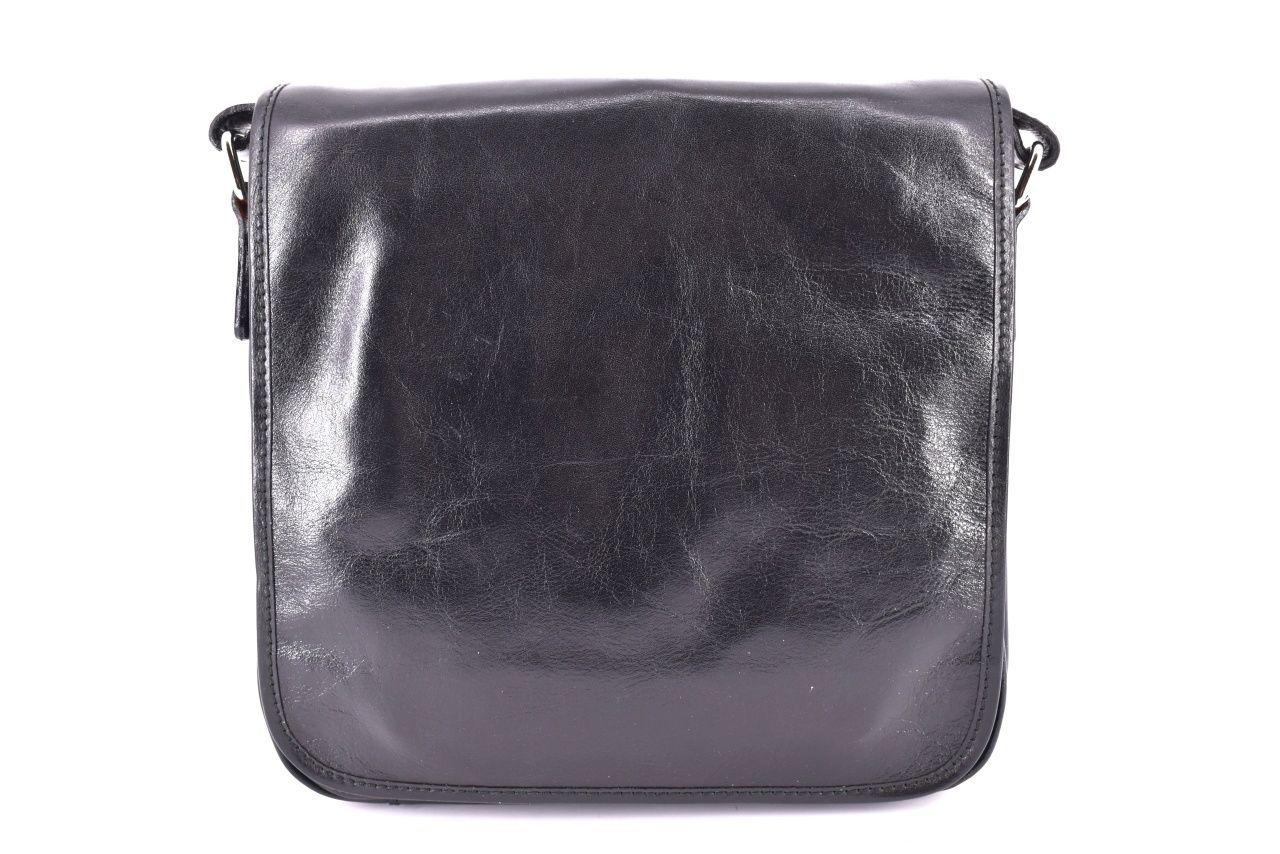 Kožená taška přes rameno crossbody s klopnou    - černá