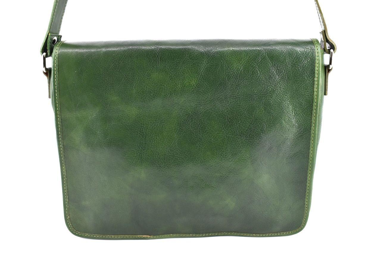 Kožená taška s klopnou Arteddy - zelená