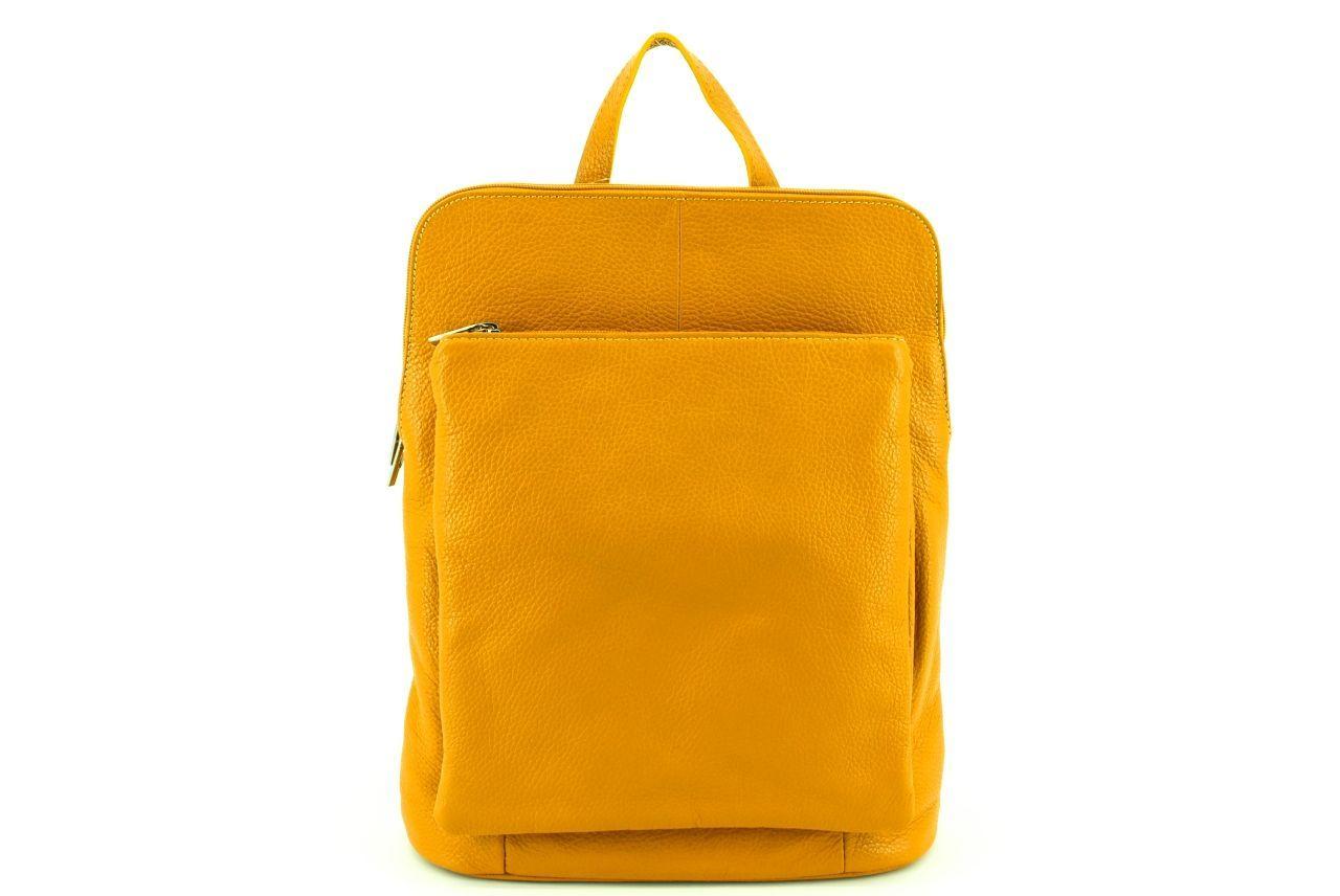 Dámský kožený batoh a kabelka v jednom / Arteddy - hořčicová 36933