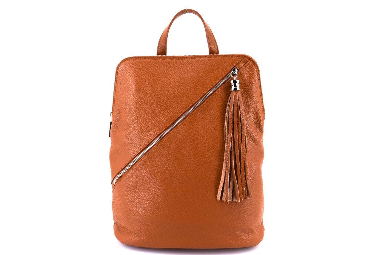 Dámský kožený batoh a kabelka v jednom /Arteddy - rezavá 36932