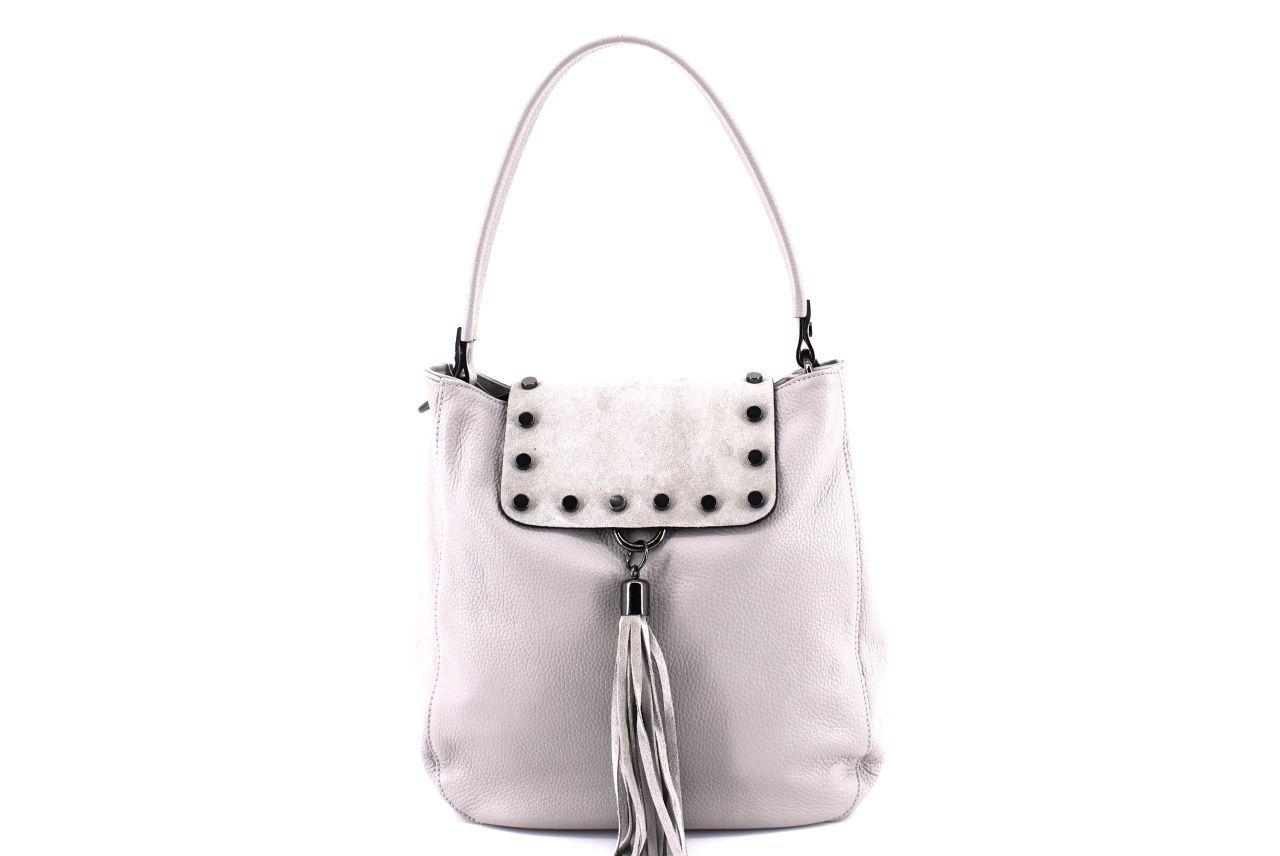 Dámská kožená kabelka s klopnou Arteddy - šedá 36895