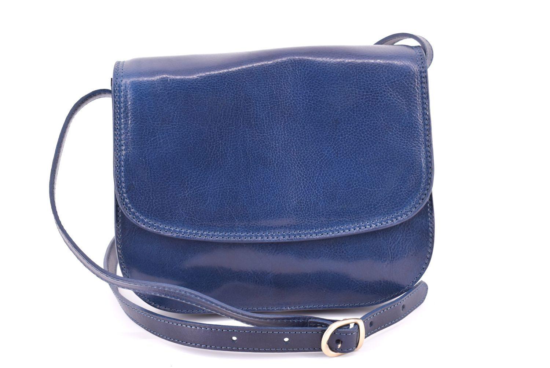 Dámská velká kožená kabelka lovecká Arteddy -tmavě modrá 29638