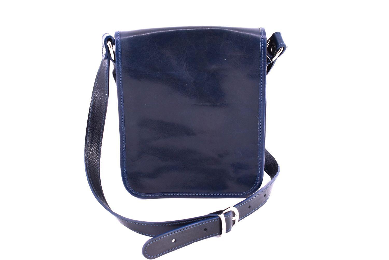 Kožená taška přes rameno crossbody s klopnou - tmavě modrá 29622