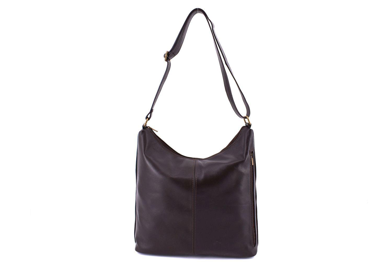 Dámská kožená kabelka crossbody Arteddy - tmavě hnědá 2694