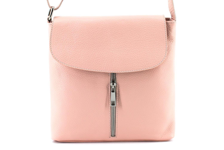 Dámská kožená crossbody kabelka s klopnou Arteddy - růžová 36926