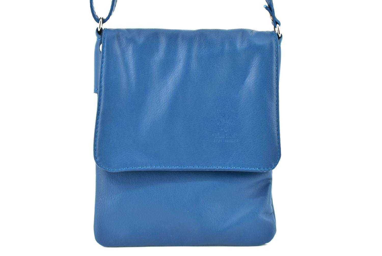 Dámská kožená crossbody kabelka s klopnou Arteddy - modrá 36943