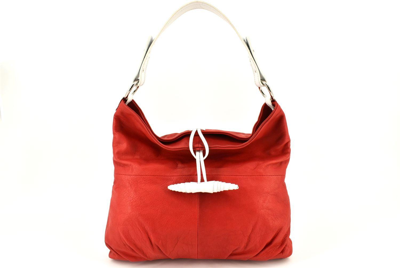 Dámská kožená kabelka Arteddy - červená/bílá 21624