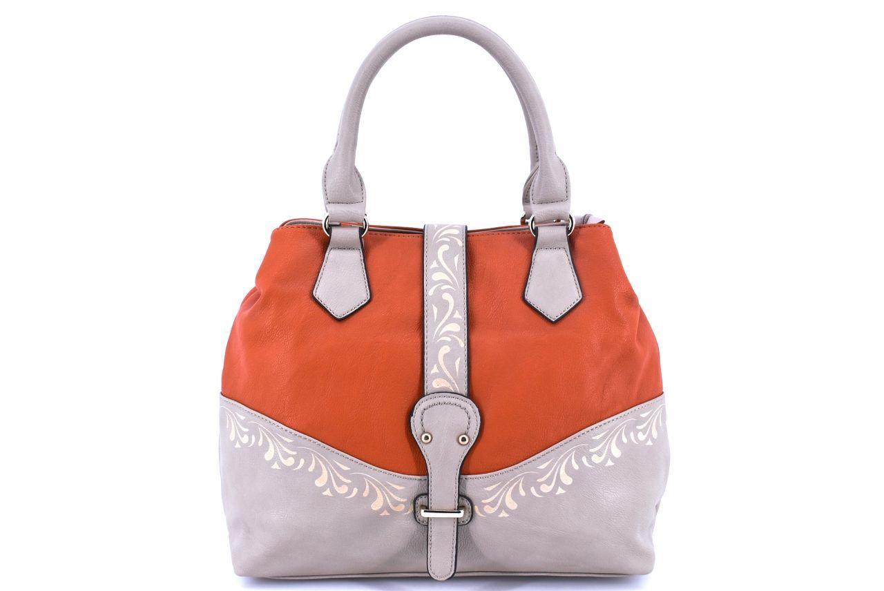 Dámská kabelka - krémová/oranžová 23237