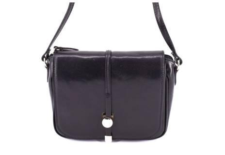 Dámská kožená crossbody kabelka s klopnou Arteddy - černá