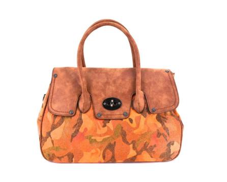 Dámská kabelka - oranžová/hnědá