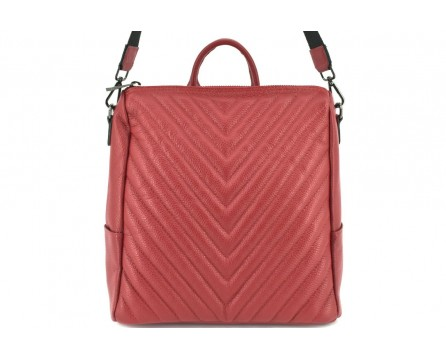 Dámský kožený prošívaný batoh a kabelka v jednom /Arteddy