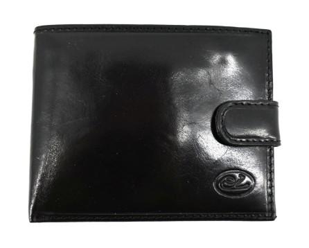 Pánská kožená peněženka na šířku se zápinkou Every - černá