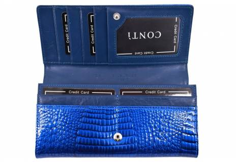 Dámská velká kožená lakovaná peněženka CONTI