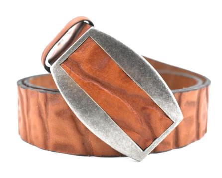 Pánský kožený opasek s plnou přezkou - hnědá