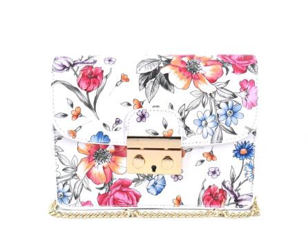 Dámská malá květovaná kožená kabelka crossbody Arteddy - bílá