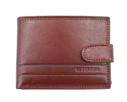 Pánská kožená peněženka na šířku  se zápinkou Valentini - hnědá