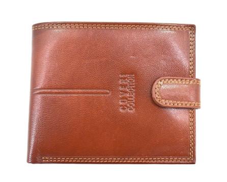 Pánská kožená peněženka  na šířku se zápinkou Coveri - hnědá