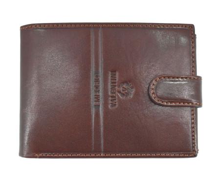 Pánská kožená peněženka na šířku se zápinkou Emporio Valentini - černá